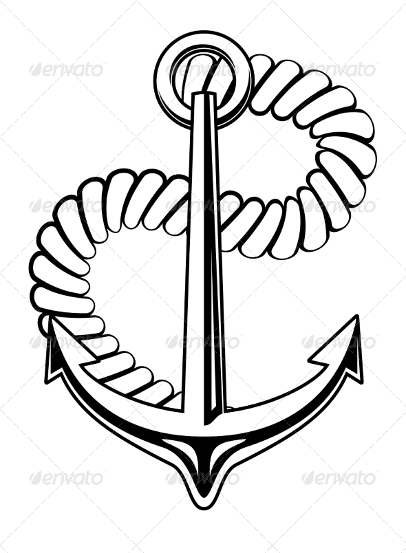 Nautical Anchor with a Coiled Rope - Man-made Objects Objects