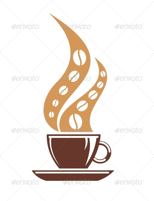 Hot Cup of Coffee with Coffee Bean Steam - Food Objects