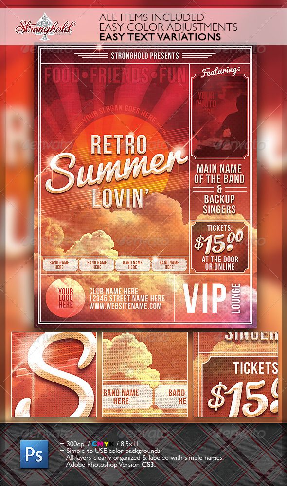 Summer Lovin' Retro Flyer Template - Flyers Print Templates