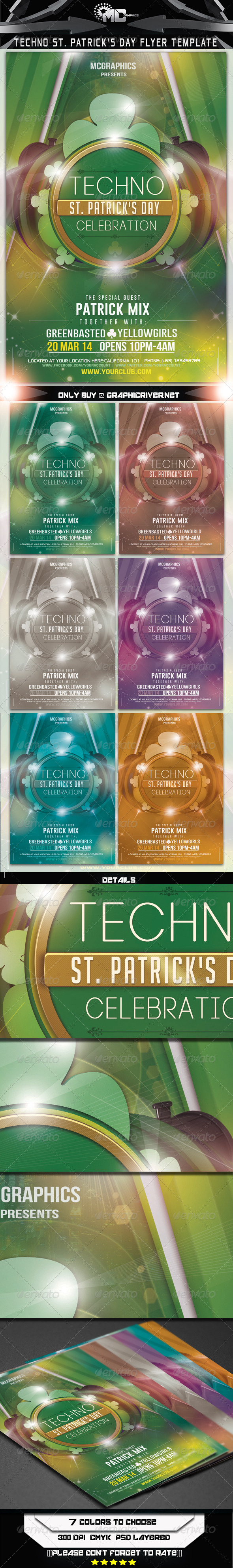 Techno St. Patrick's Day Flyer Template - Flyers Print Templates