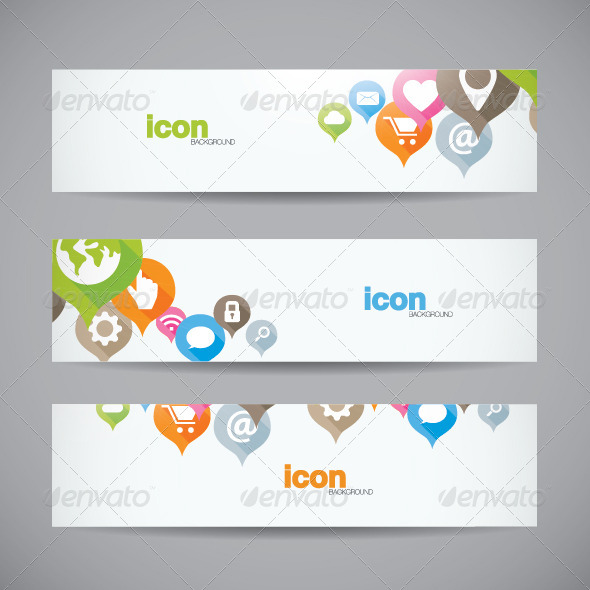 Abstract Web Icon Banner Background - Web Technology