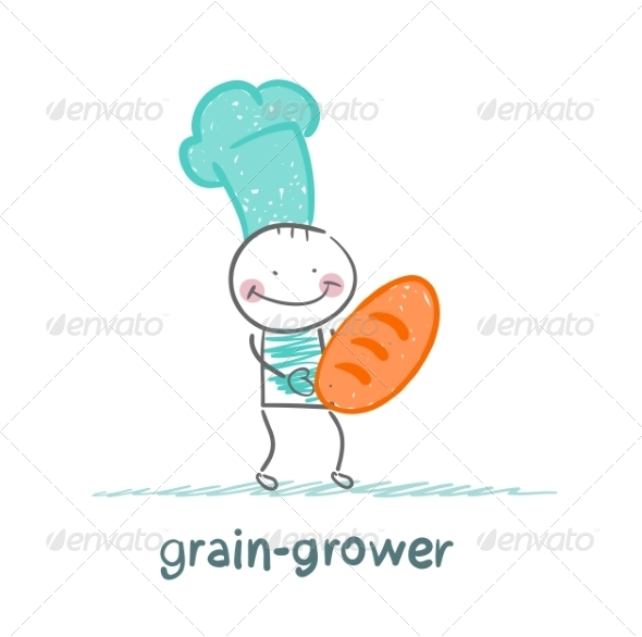 Grain Grower Keeps the Bread with the Cook - People Characters