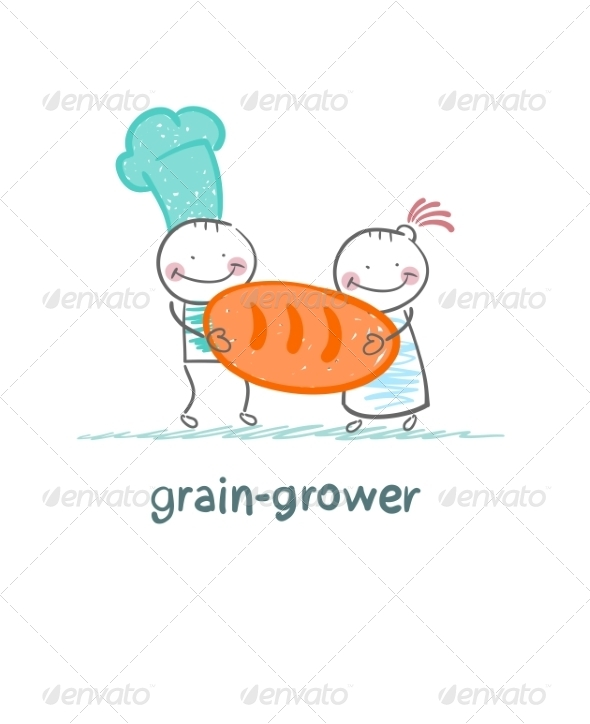 Grain Growers Hold Bread - People Characters