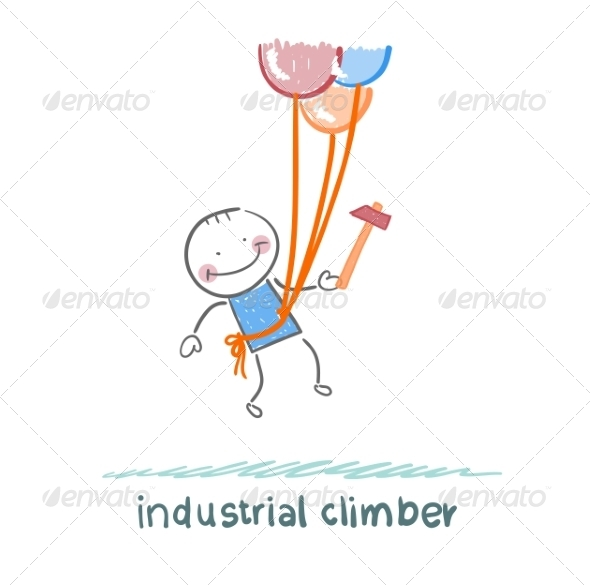 Industrial Climber Flies on Balloons with a Hammer - People Characters