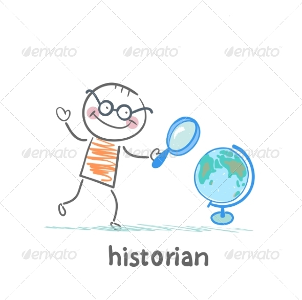 Historian Looks at Globe with Magnifying Glass - People Characters