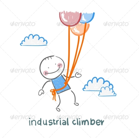 Industrial Climber Flies on Balloons - People Characters