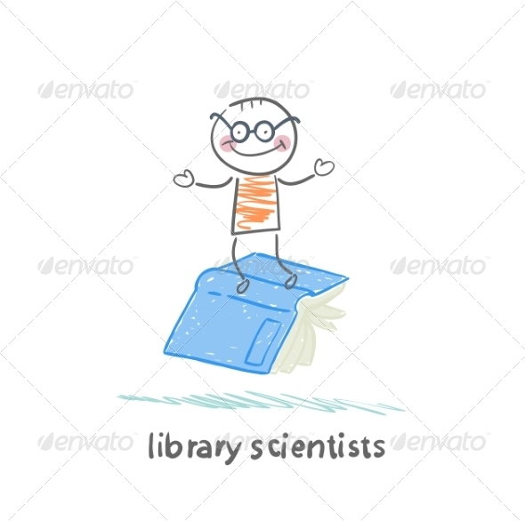 Library Scientists Flying on Book - People Characters