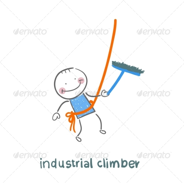 Industrial Climber Washes Windows - People Characters