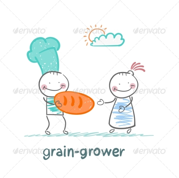 Grain Grower Gives Bread - People Characters