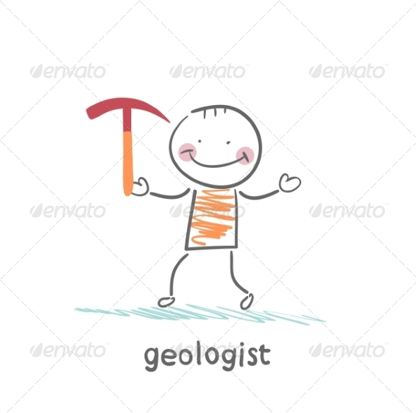Geologists Holding a Hammer - People Characters