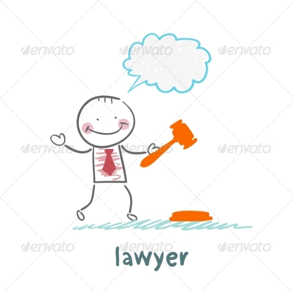 Lawyer Knocking Hammer and Thinks - People Characters