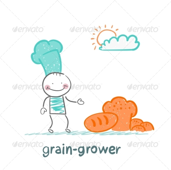 Grain Grower Stands Next to Bread - People Characters