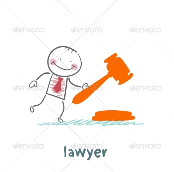 Lawyer Knocking Hammer - People Characters