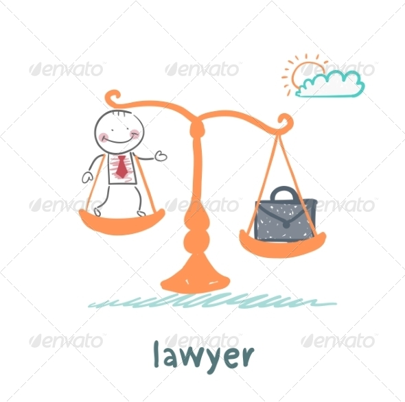 Lawyer is on the Scales with a Suitcase - People Characters