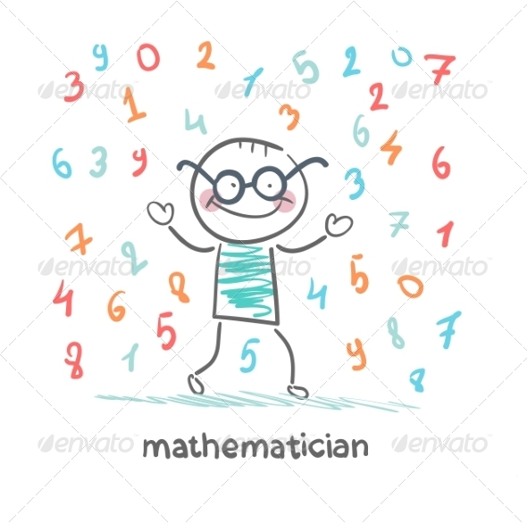 Mathematician with Numbers Raining - People Characters