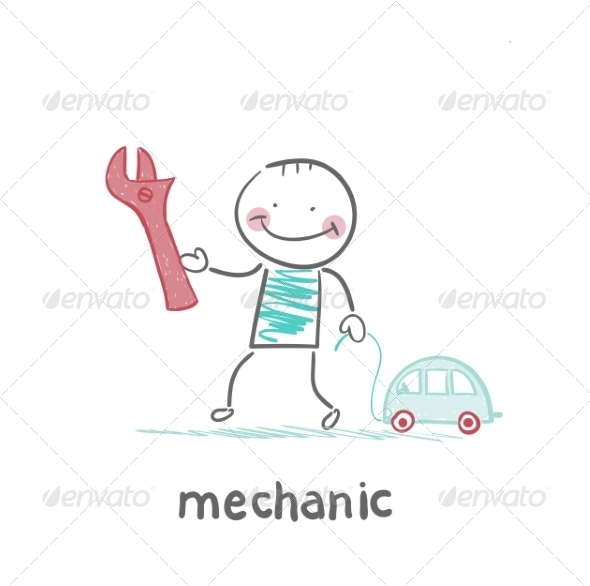 Mechanic Holding a Key and a Little Car - People Characters