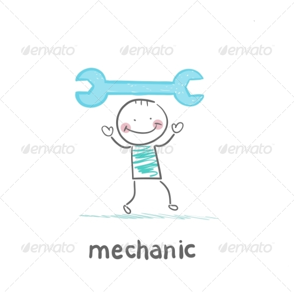 Mechanic Holding Blue Key - People Characters