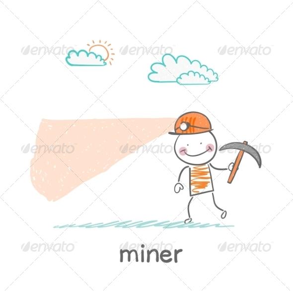 Miner Looking - People Characters