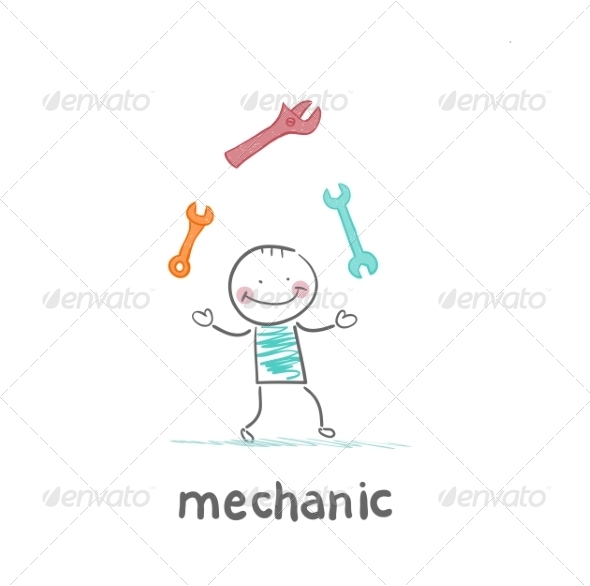 Mechanic Juggling Tools - People Characters
