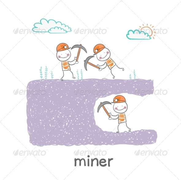 Miners Digging - People Characters