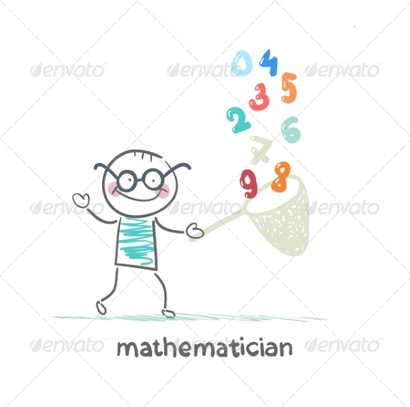 Mathematician Catches Figures in Butterfly Net - People Characters