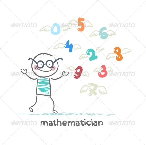 Mathematician Stands Next to Flying Figures - People Characters