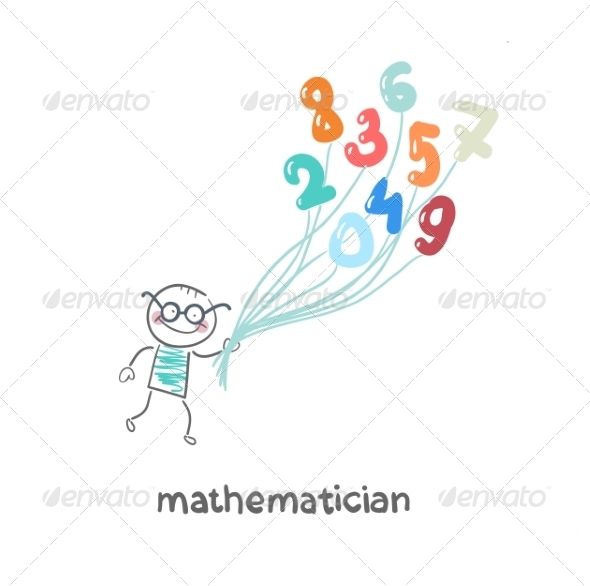 Mathematician is Flying on Figures - People Characters