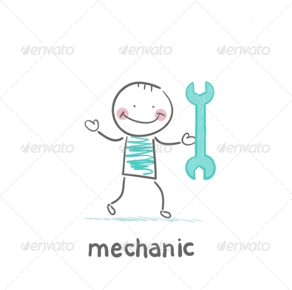 Mechanic Holding a Green Key - People Characters