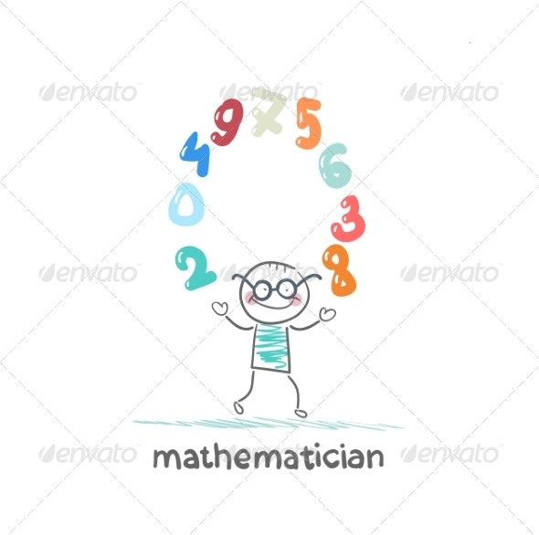 Mathematician Juggles Figures - People Characters