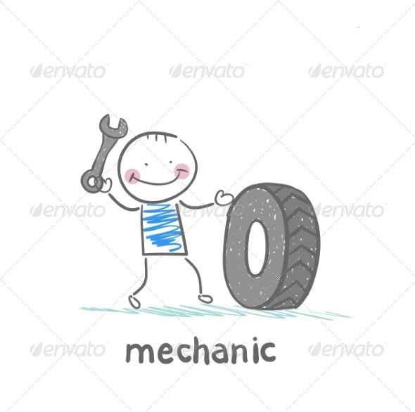 Mechanic Holding a Wrench and a Wheel - People Characters