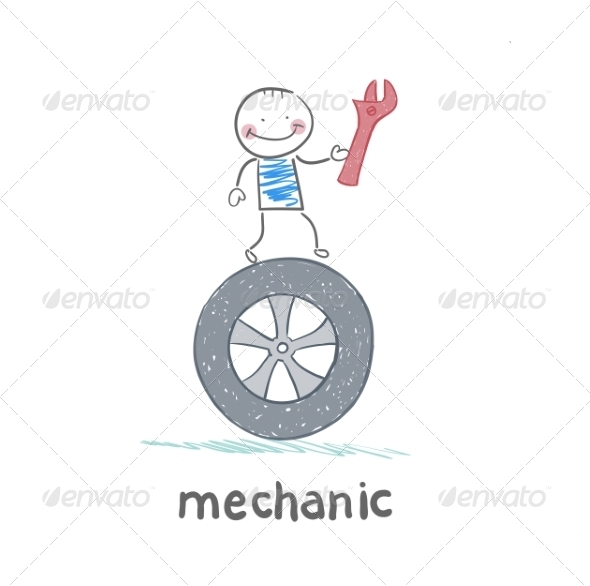 Mechanic Holds Tool and Stands on the Wheel - People Characters