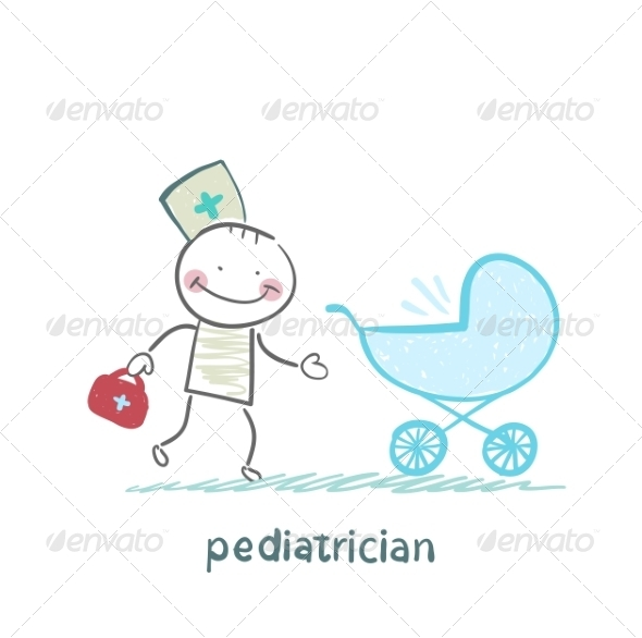 Pediatrician Came to a Sick Child in a Stroller - People Characters