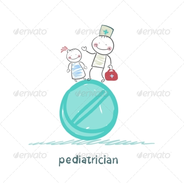 Pediatrician with a Child Standing on a Tablet - People Characters