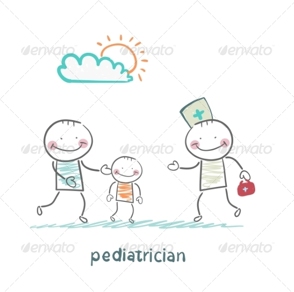 Pediatrician Takes Dad with a Sick Child - People Characters