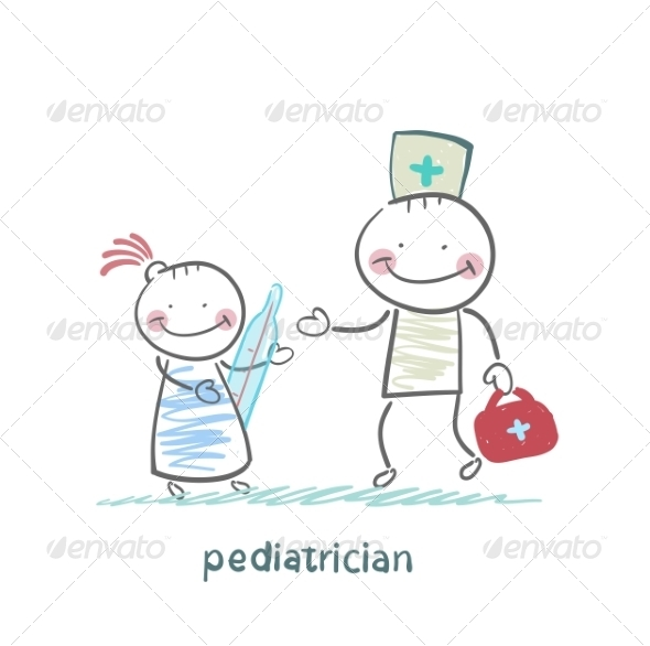 Pediatrician Checks the Child's Temperature - People Characters