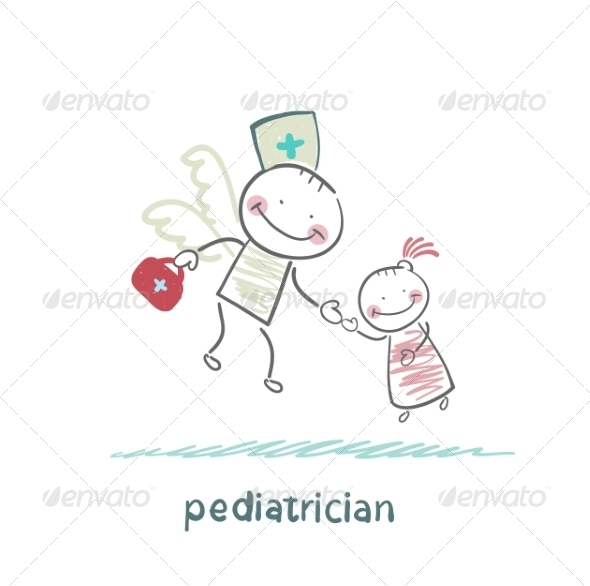 Pediatrician Flies to a Sick Child - People Characters