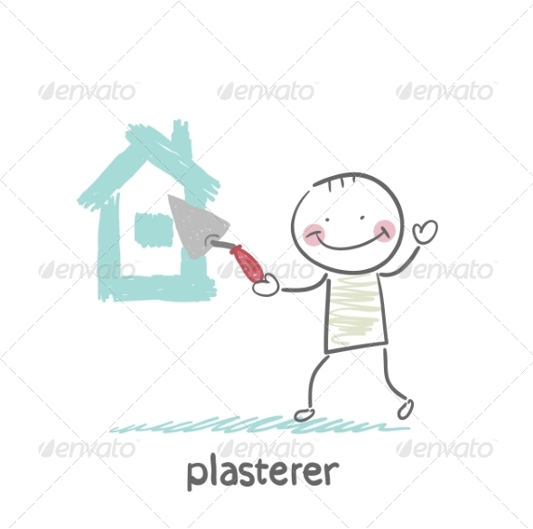 Plasterer Paints Cement House - People Characters