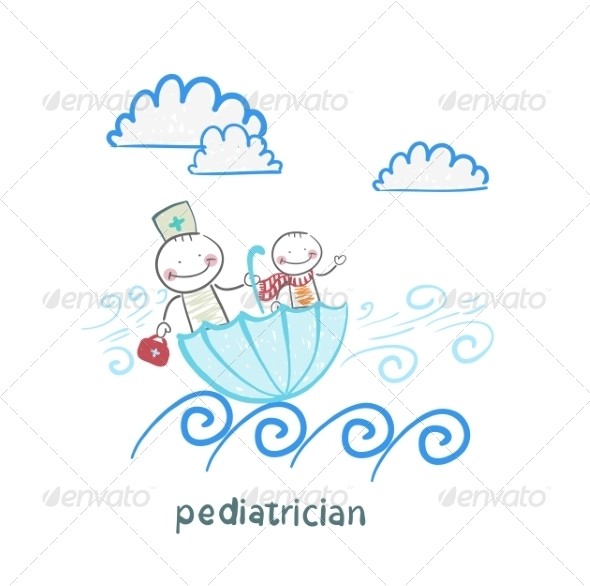 Pediatrician with Baby Sitting in an Umbrella - People Characters