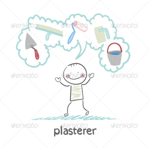 Plasterer Thinks About His Instruments - People Characters