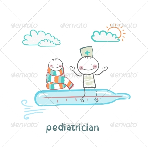 Pediatrician and Sick Child Flying on a Thermometer - People Characters