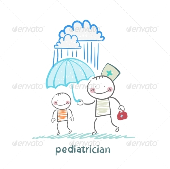 Pediatrician Holding an Umbrella Over the Child - People Characters