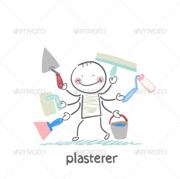Plasterer Holds a Lot of Tools to Work - People Characters