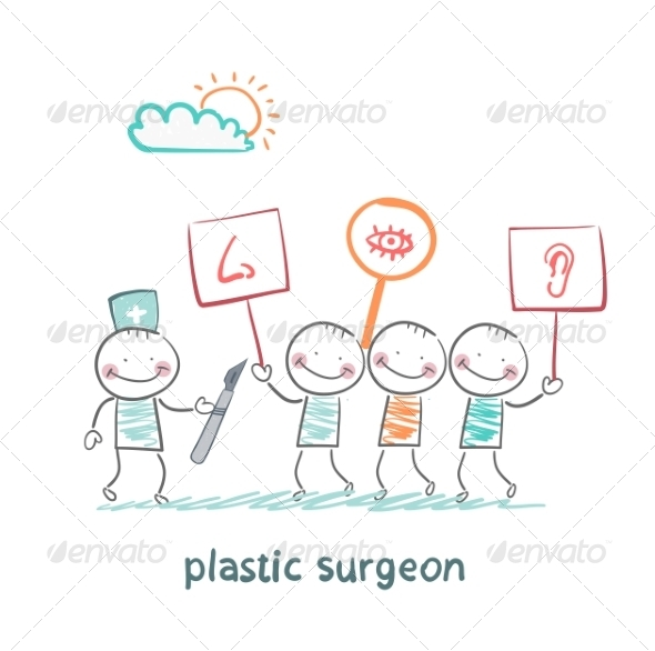 Plastic Surgeon Looks at People with Placards  - People Characters