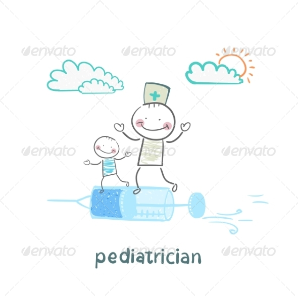 Pediatrician is Flying on a Syringe with a Sick Child - People Characters