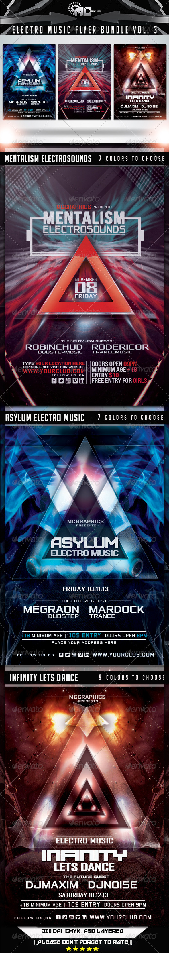 Electro Music Flyer Bundle Vol. 3 - Clubs & Parties Events