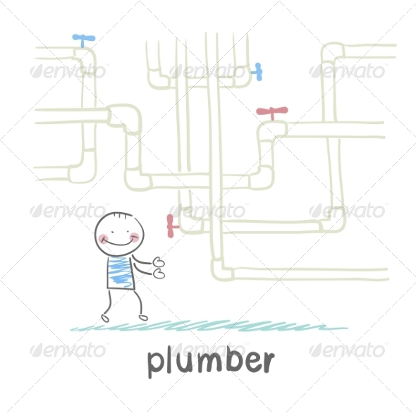 Plumber Standing Near Pipes - People Characters