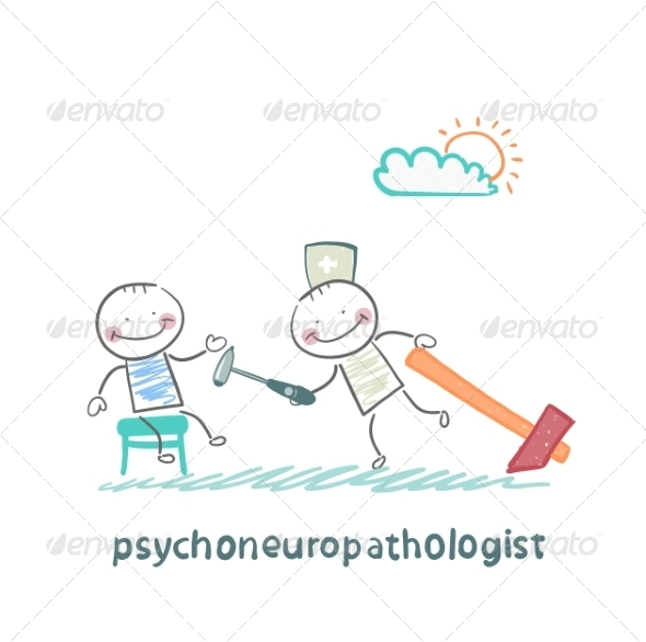 Psychoneuropathologist Checks the Patient's Nerves - People Characters