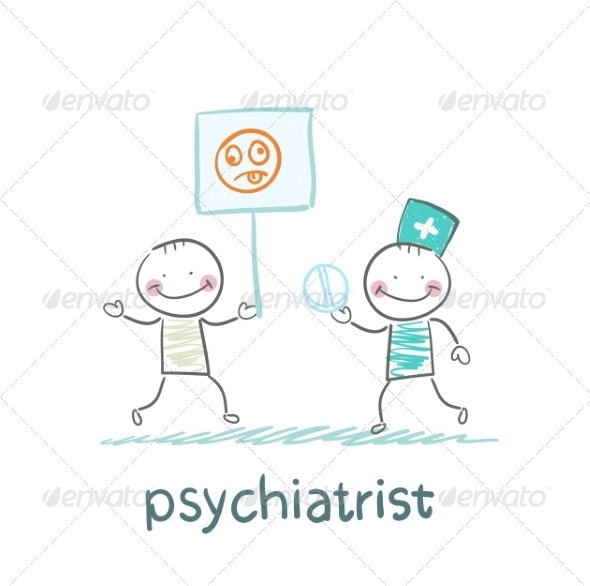 Psychiatrist Gives the Patient a Pill - People Characters