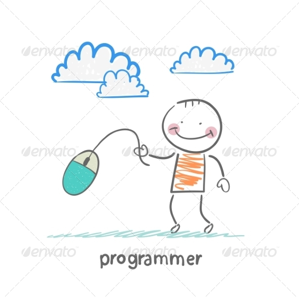 Programmer Holding a Computer Mouse - People Characters