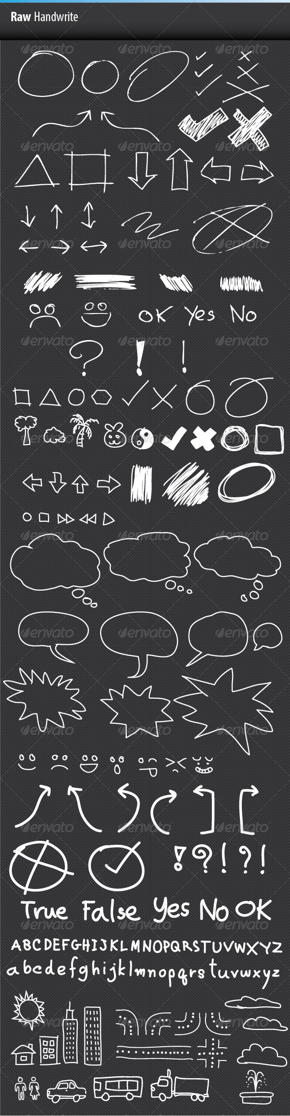 Raw Handwrite - Objects Vectors